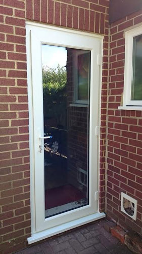 Clinton half panel dual glazed upvc back door for Back door with window that opens