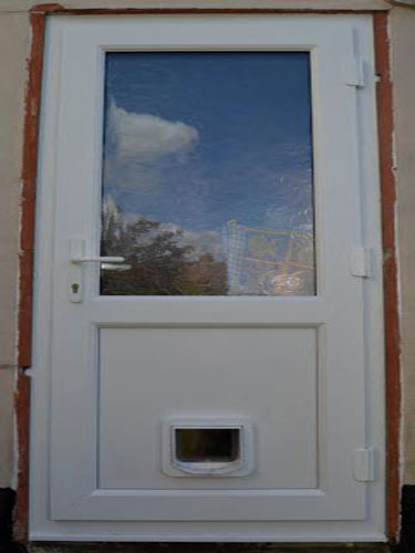 Half Glazed Flat Panel UPVC Back Door