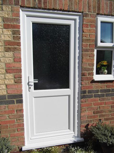 2xg half glazed flat panel upvc back door for Back door with window that opens