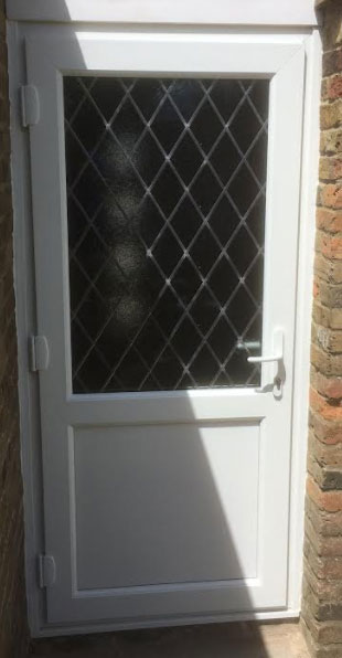 Half Glazed Flat Panel Diamond Lead UPVC Back Door