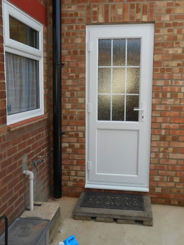 Full glass upvc back door for White back door