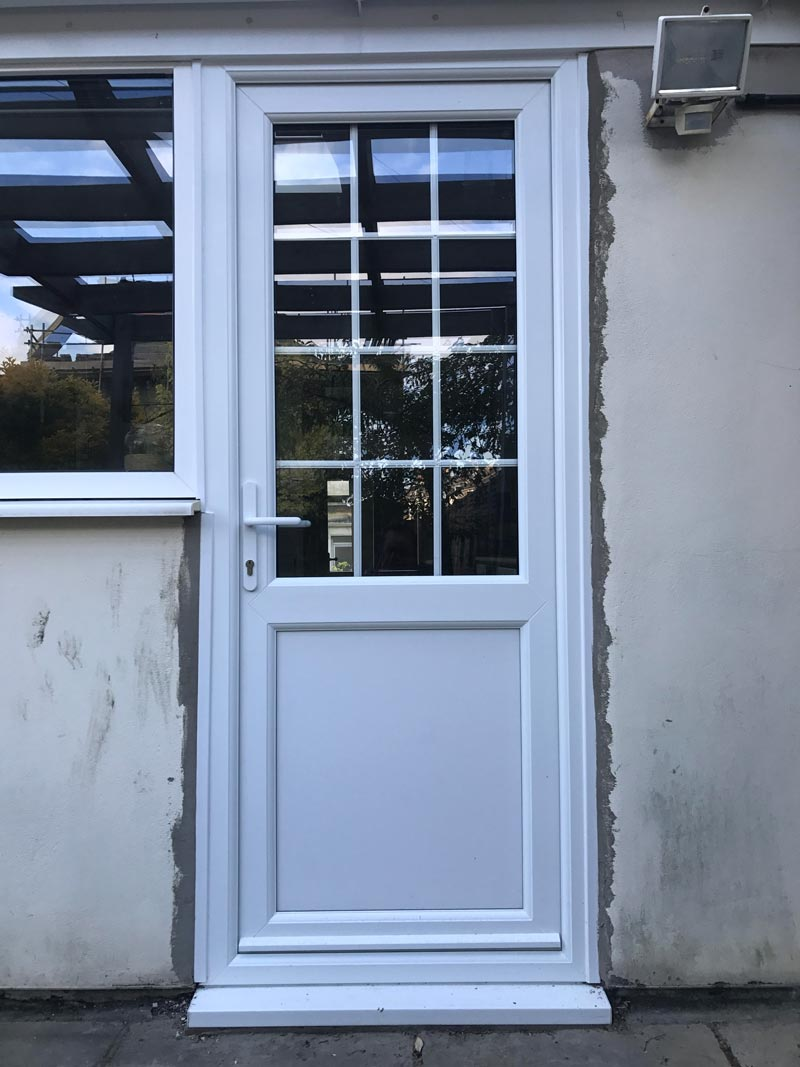 Half Glazed Flat Panel Georgian Bar UPVC Back Door