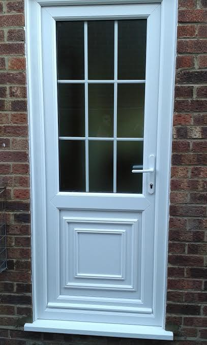 Flat panel with mid rail solid upvc back door for Back door with window that opens