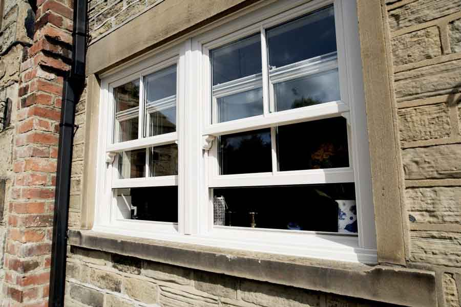 white sliding double sash window
